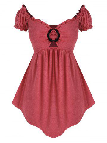 Plus Size O Ring Off The Shoulder Irregular Tee - RED - L