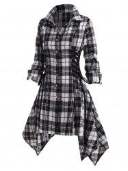 Lace Up Plaid Rolled Up Sleeve Handkerchief Shirt Dress -