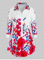 Plus Size Floral Print Half Button Blouse -