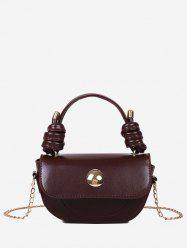 Knotted Handle Chain Saddle Bag -