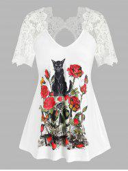 Plus Size Floral Skull Print Lace Insert Cutout Tee -