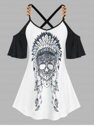 Plus Size Crisscross Cold Shoulder Skull Print Tee -