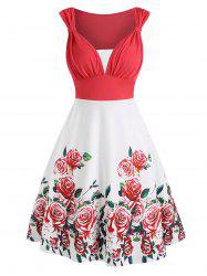 Colorblock Flower Print Knotted Sleeveless Dress -