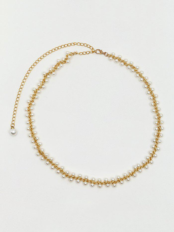Discount Faux Pearl Embellished Chain Belt