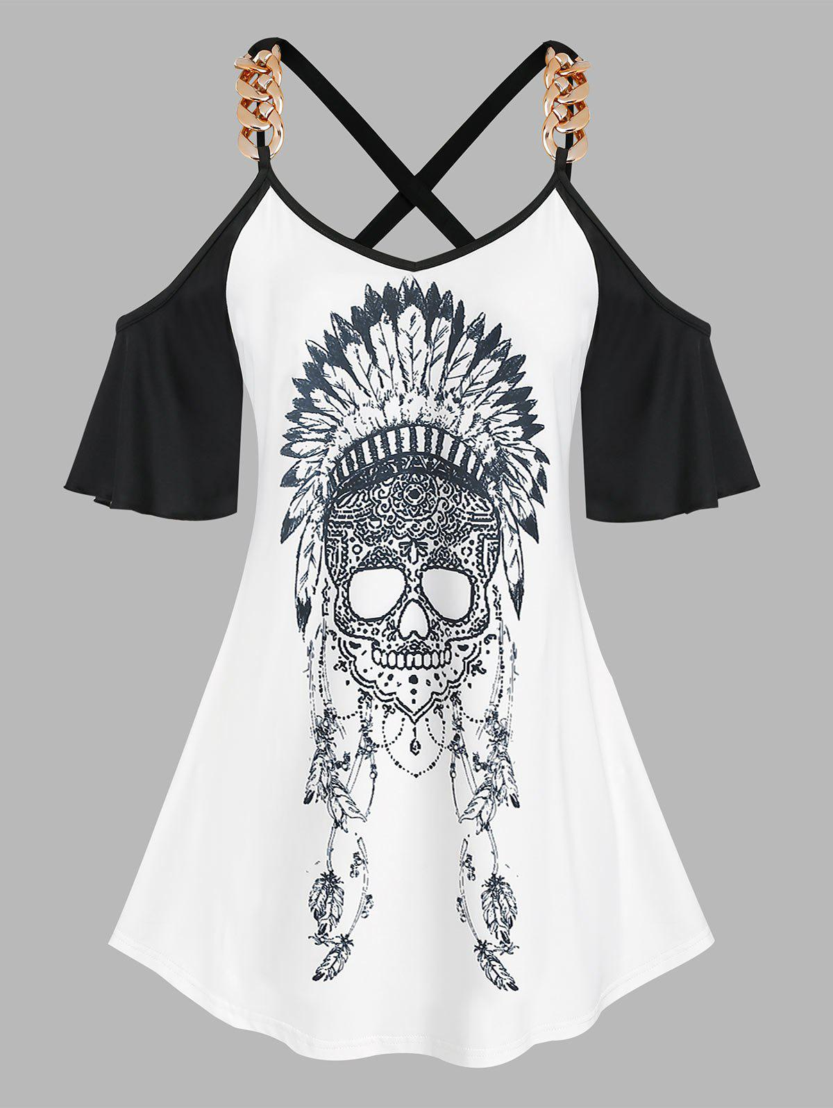 Outfits Plus Size Crisscross Cold Shoulder Skull Print Tee