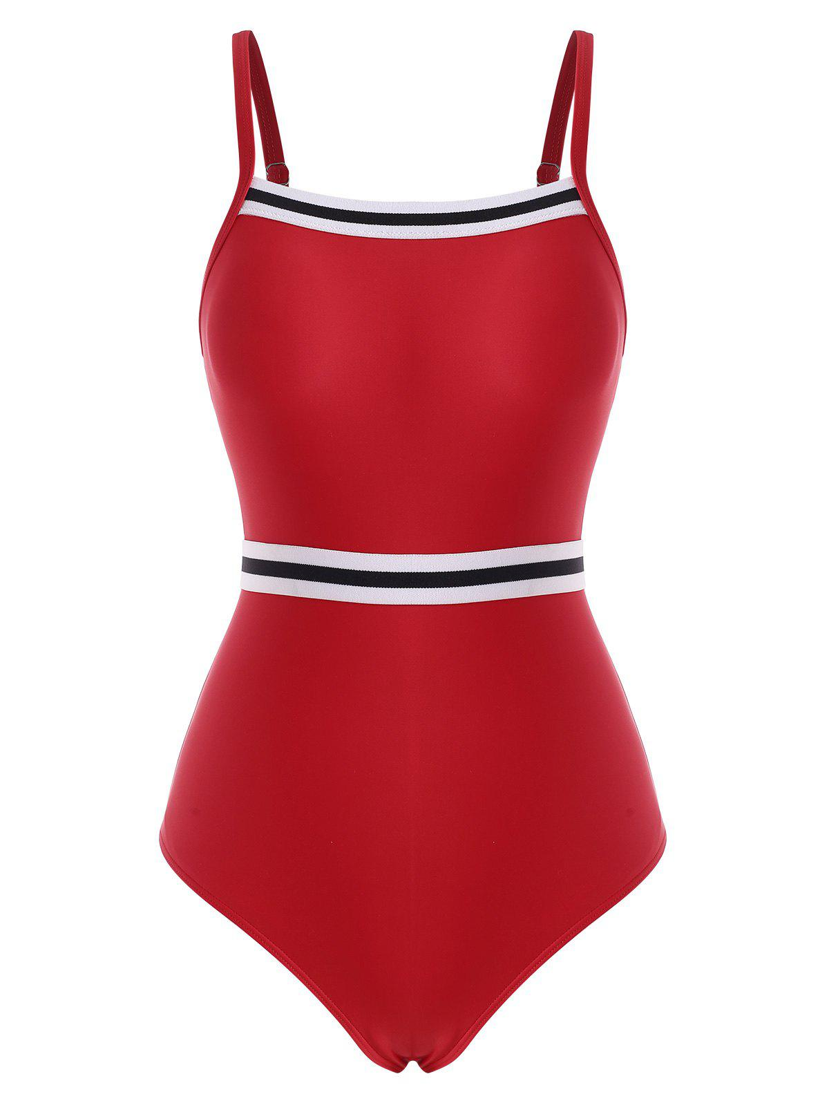 Cheap Striped Cutout Contrast One-piece Swimsuit