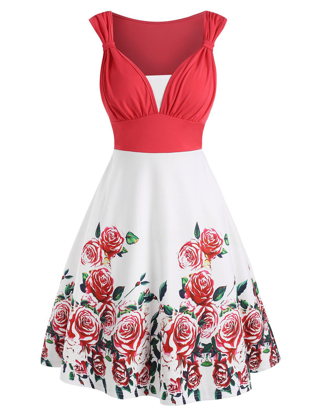 Sale Colorblock Flower Print Knotted Sleeveless Dress