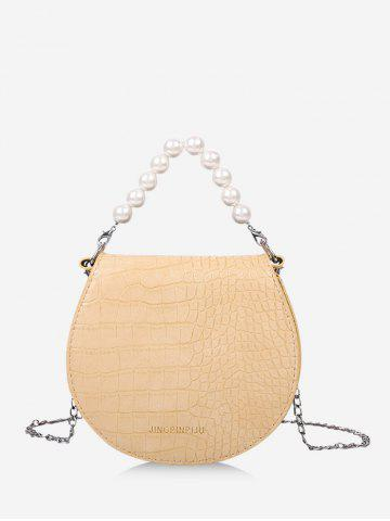 Faux Pearl Handle Chain Strap Handbag - GOLDENROD