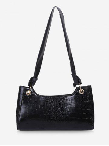 Solid Textured Knotted Shoulder Bag - BLACK