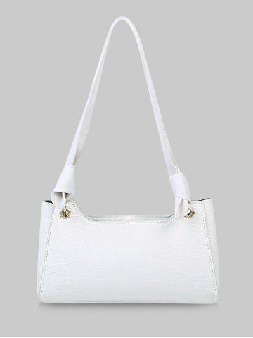 Solid Textured Knotted Shoulder Bag - NATURAL WHITE