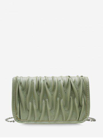 Pleated Chain Cover Crossbody Bag - SEA GREEN