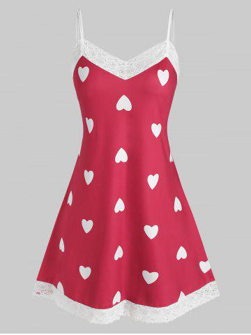 Plus Size Heart Print Lace Trim Sleep Dress - RED - 5X