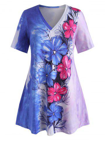 Plus Size Tie Dye Flower Pattern Long Tunic Tee - BLUE - 5X