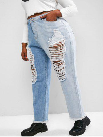 Plus Size Ladder Distressed Contrast Frayed Hem Jeans - LIGHT BLUE - 4XL