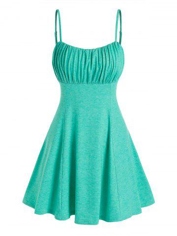 Ruched Bust Thin Straps Mini Dress