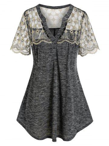 Plus Size Embroidered Lace Space Dye Tee - GRAY - L