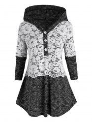 Plus Size Lace Insert Space Dye Hooded Button Placket T Shirt -