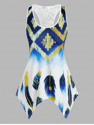 Plus Size Handkerchief Feather Print Racerback Tank Top -