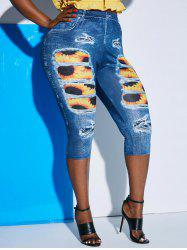 Plus Size 3D Ripped Jean Print Sunflower Cropped Jeggings -