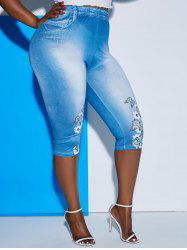 3D Print Floral Butterfly Plus Size Capri Jeggings -