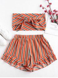 Plus Size Striped Knotted Bandeau Top and Shorts Set -