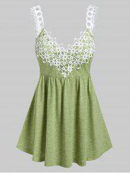 Flower Lace Insert Heathered Flare Tank Top -