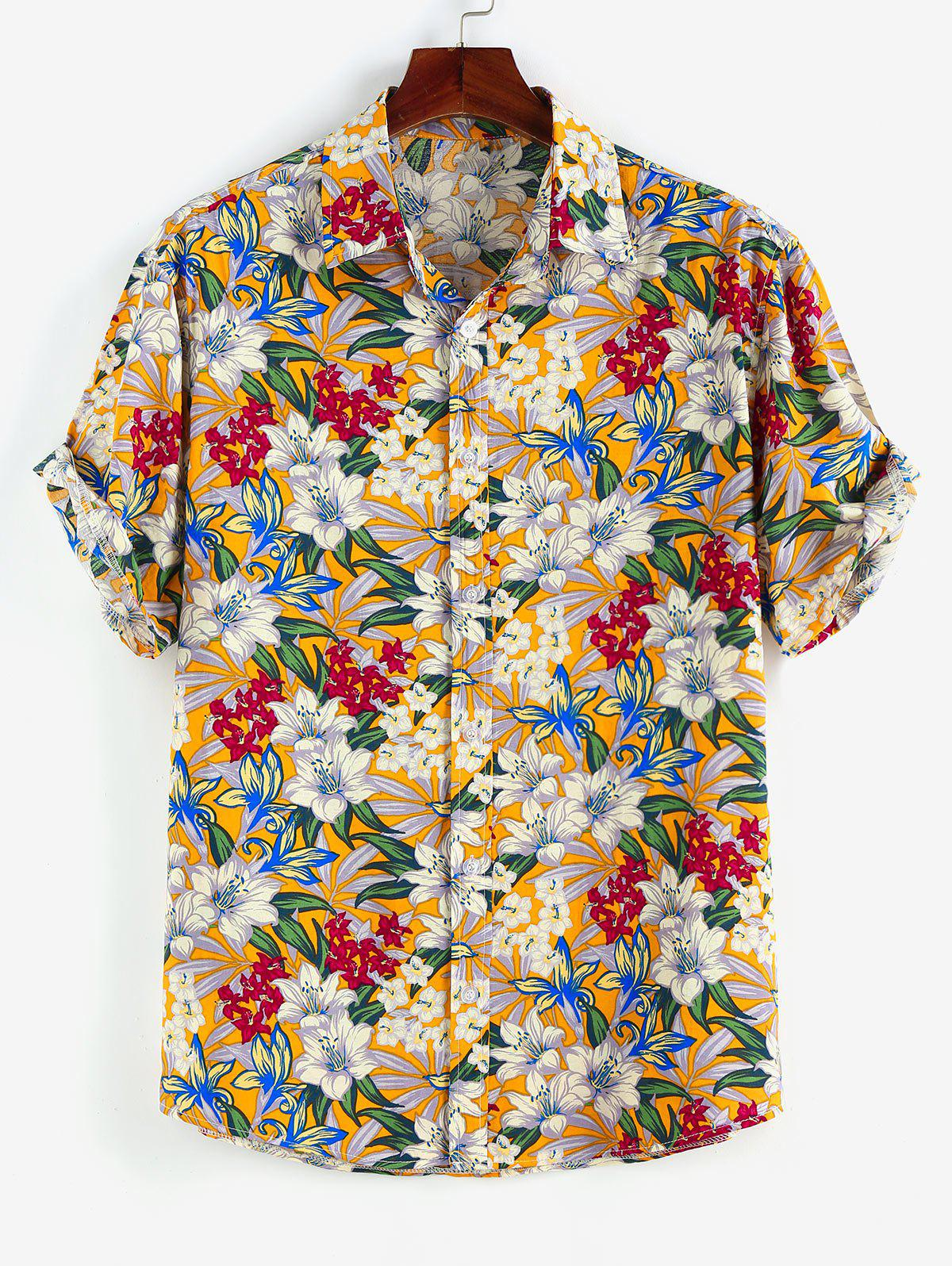 Fashion Allover Floral Print Button Up Shirt