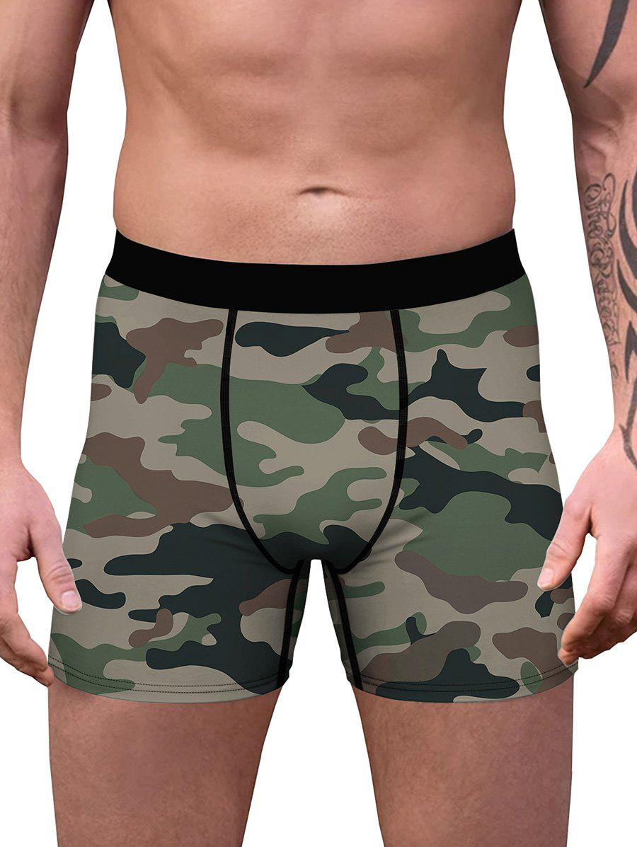 Shop Camouflage Print Stitching Boxers