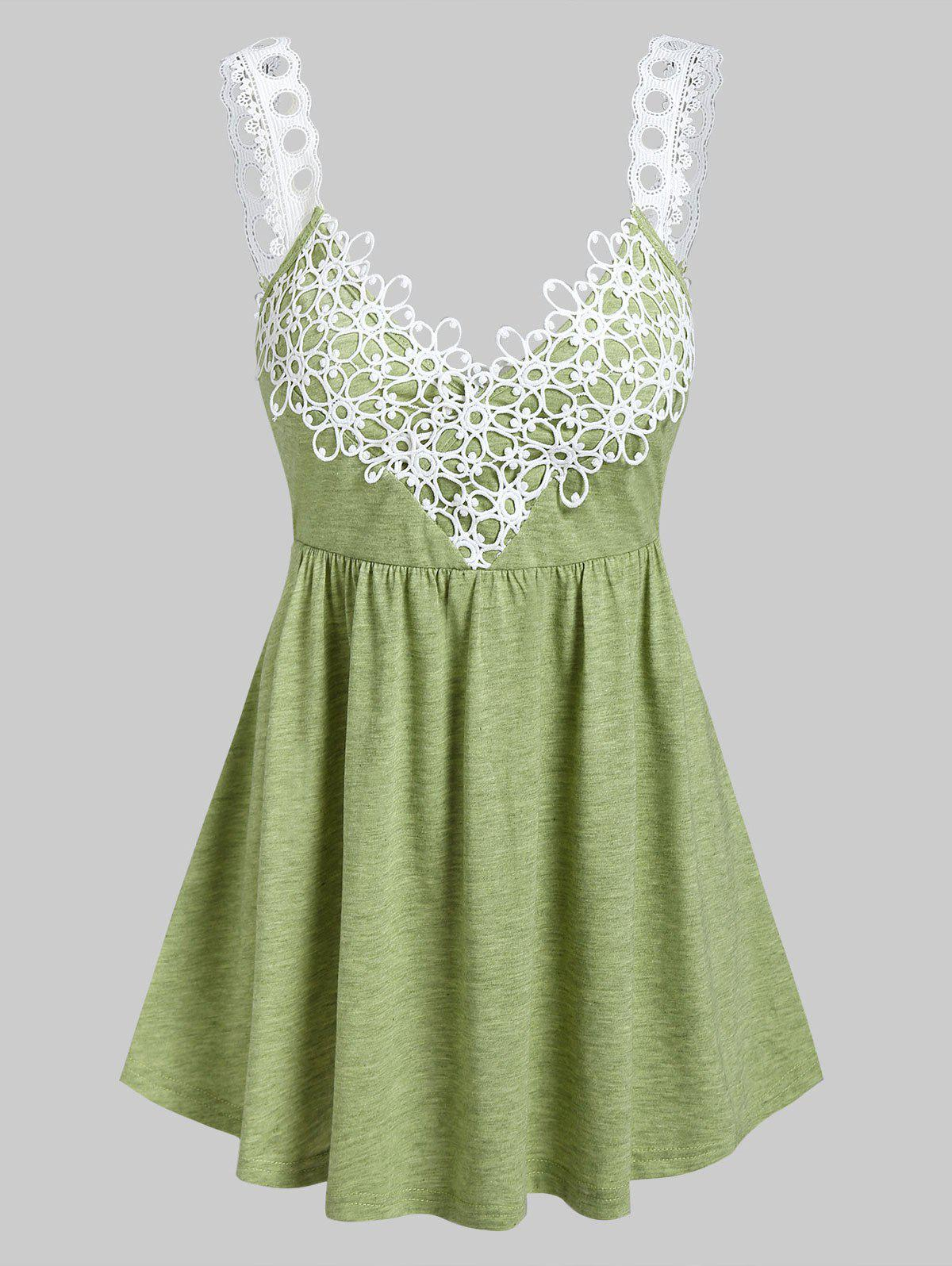 Shops Flower Lace Insert Heathered Flare Tank Top