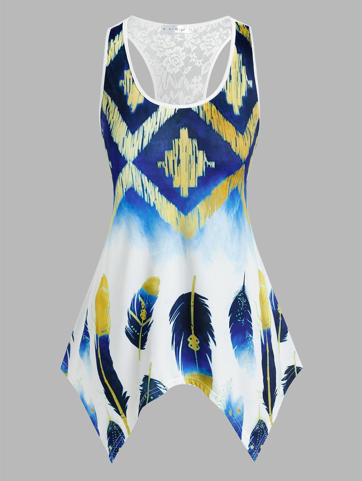 Unique Plus Size Handkerchief Feather Print Racerback Tank Top