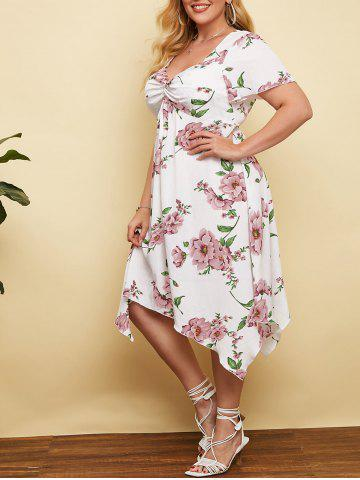 Plus Size Plunge Floral Print Front Twist Handkerchief Dress