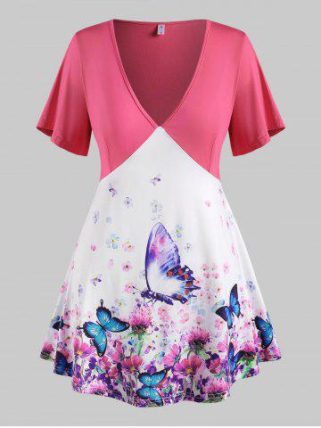 Plus Size Floral Butterfly Print Plunging Tunic Tee - LIGHT PINK - 3X