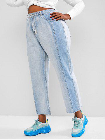 Plus Size Colorblock High Rise Straight Jeans