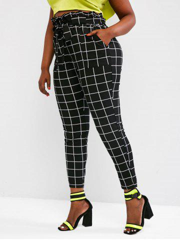 Plus Size Paperbag Waist Check Pattern Pants - BLACK - 3XL