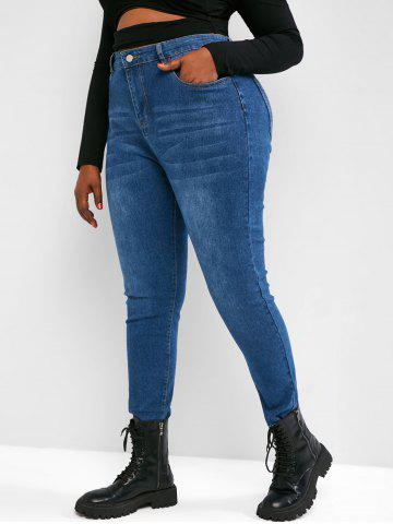Plus Size High Waisted Raw Hem Tapered Jeans - BLUE - 2XL