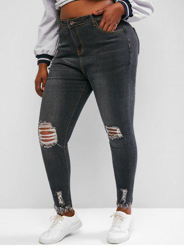 Plus Size Raw Hem Skinny Distressed Jeans - GRAY - 4XL