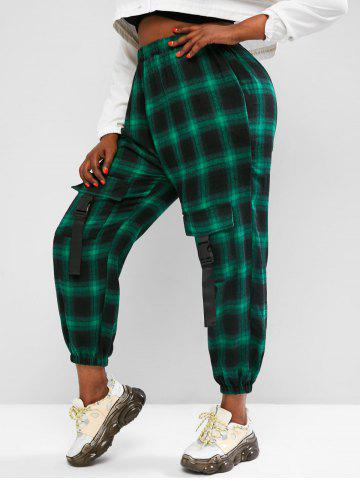 Plus Size Plaid Buckled Cargo Pants - GREEN - 3XL