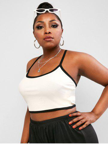 Plus Size Contrast Binding Ribbed Cropped Cami Top