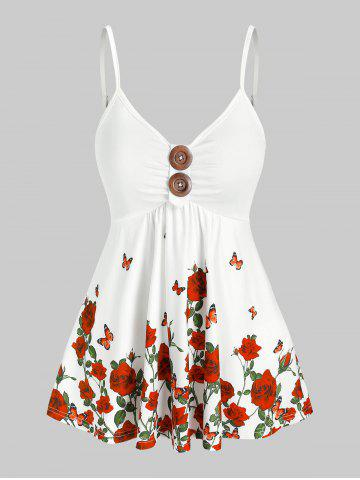 Butterfly Rose Printed Cami Tank Top - WHITE - 3XL