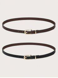 2Pcs Retro Skinny Pin Buckle Belt Set -