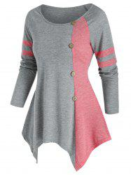 Bicolor Button Asymmetric Tunic T Shirt -