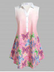 Plus Size Sleeveless Ombre Color Butterfly Print Blouse -