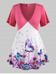 Plus Size Floral Butterfly Print Plunging Tunic Tee -
