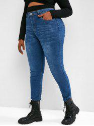 Plus Size High Waisted Raw Hem Tapered Jeans -