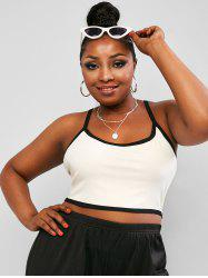 Plus Size Contrast Binding Ribbed Cropped Cami Top -