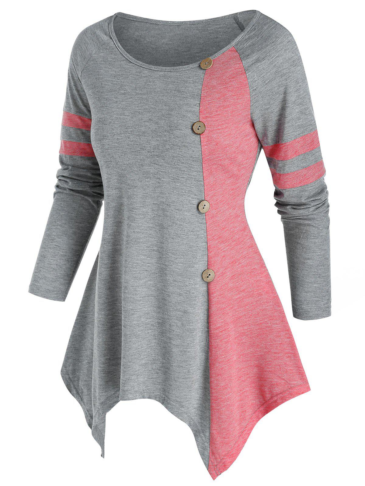 Hot Bicolor Button Asymmetric Tunic T Shirt