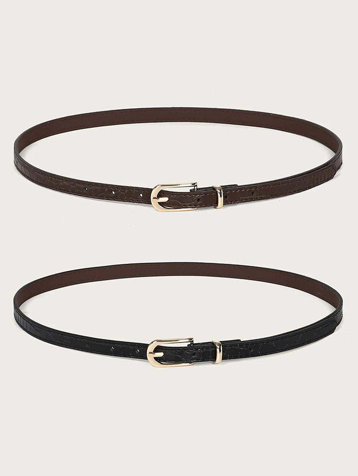 Fancy 2Pcs Retro Skinny Pin Buckle Belt Set