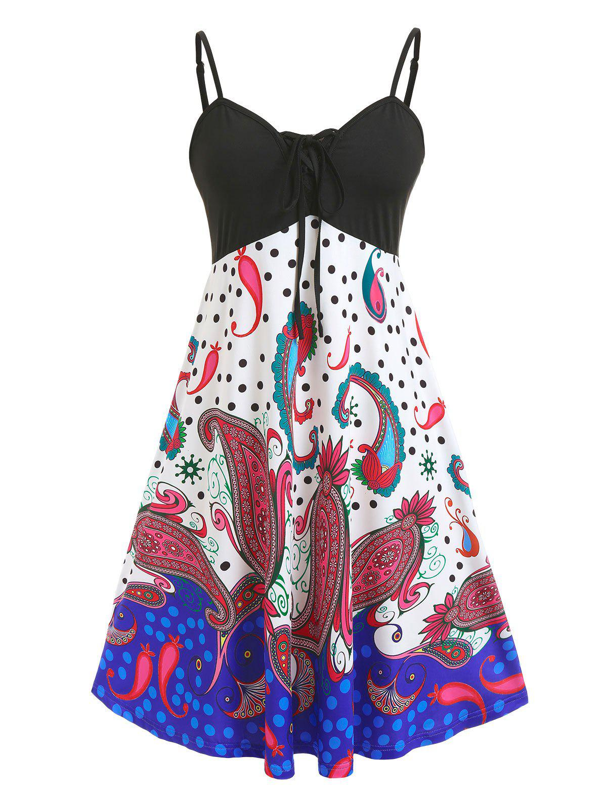 Online Plus Size Lace Up Paisley Print Slip Dress