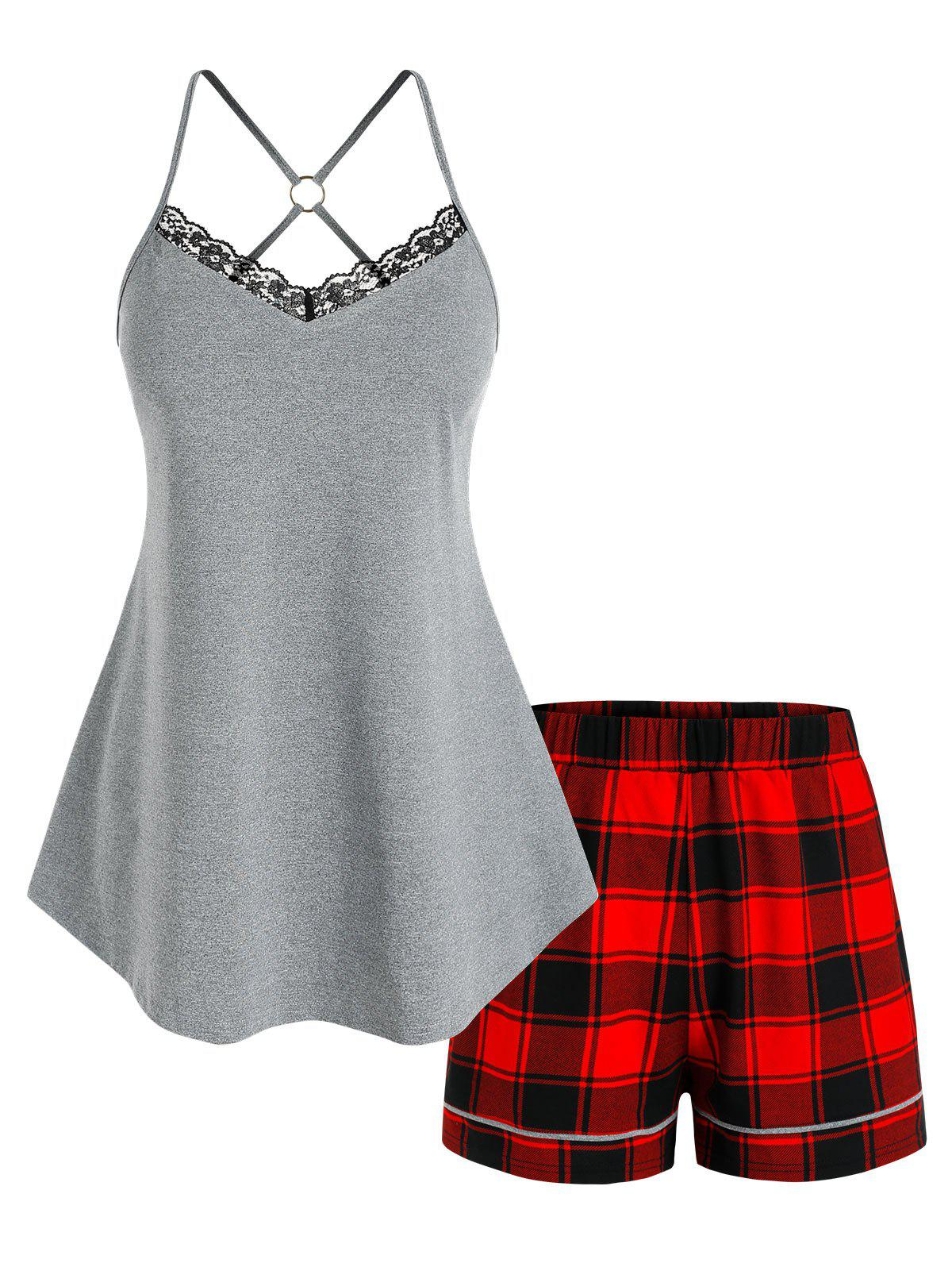 Shop Plus Size Strappy O Ring Top and Plaid Shorts Pajamas Set