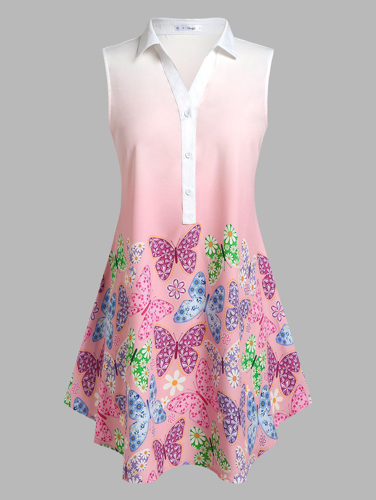Discount Plus Size Sleeveless Ombre Color Butterfly Print Blouse